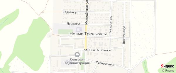 Солнечная улица на карте деревни Новые Тренькасы с номерами домов