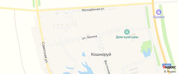 Улица Ленина на карте деревни Кошноруй с номерами домов