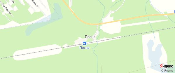 Карта деревни Посны в Архангельской области с улицами и номерами домов