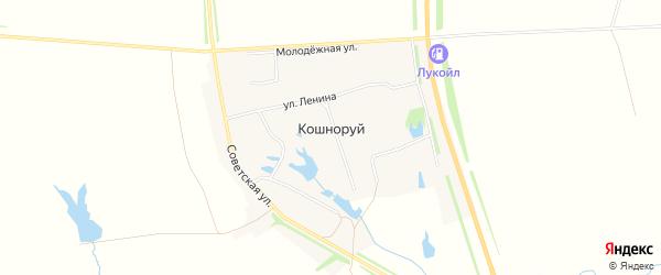 Карта деревни Кошноруй в Чувашии с улицами и номерами домов