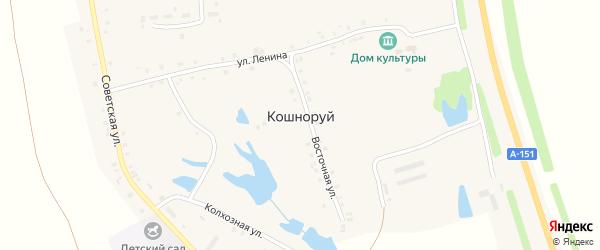 Прожекторная улица на карте деревни Кошноруй с номерами домов