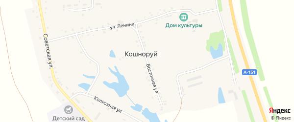 Восточная улица на карте деревни Кошноруй с номерами домов