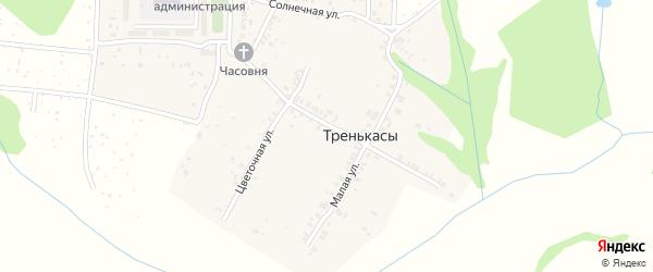 Солнечный переулок на карте деревни Тренькас с номерами домов