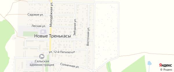Восточная улица на карте деревни Новые Тренькасы с номерами домов