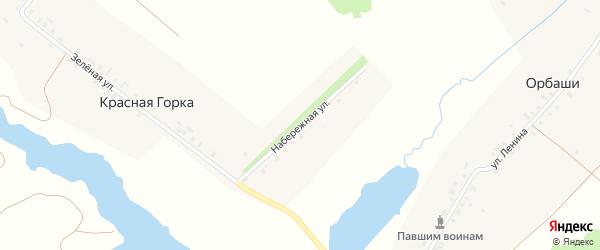 Набережная улица на карте деревни Красной Горки с номерами домов