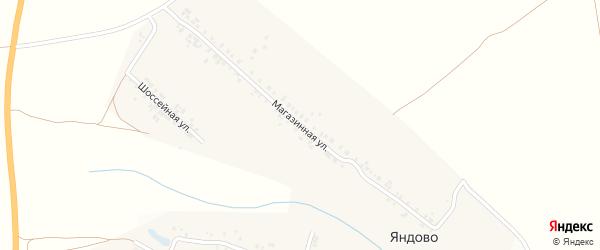 Магазинная улица на карте деревни Яндово с номерами домов