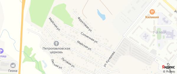 Солнечная улица на карте деревни Аркасы с номерами домов