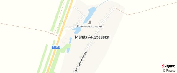 Шоссейная улица на карте деревни Малой Андреевки с номерами домов