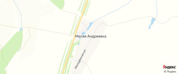 Карта деревни Малой Андреевки в Чувашии с улицами и номерами домов