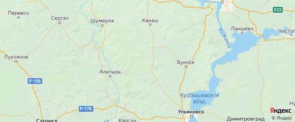 Карта Батыревского района республики Чувашия с городами и населенными пунктами