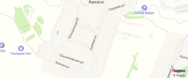 Прямая улица на карте деревни Аркасы с номерами домов