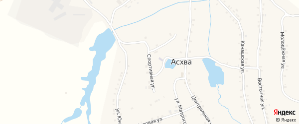 Спортивная улица на карте деревни Асхвы с номерами домов