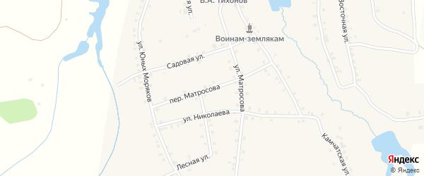Переулок Матросова на карте деревни Асхвы с номерами домов