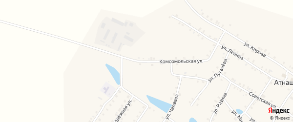 Комсомольская улица на карте деревни Атнашево с номерами домов