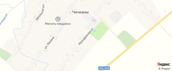 Молодежная улица на карте деревни Чичкан с номерами домов