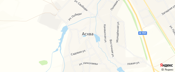 СТ Садовое товарищество Поляна на карте деревни Асхвы с номерами домов