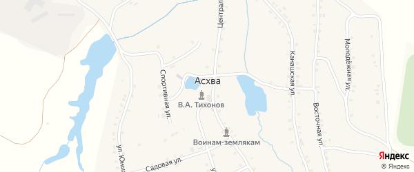 Садовая улица на карте деревни Асхвы с номерами домов