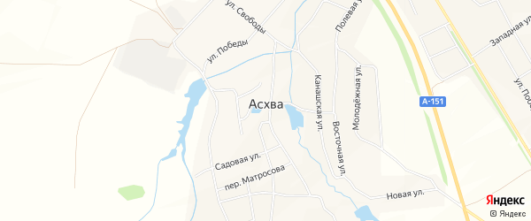 Сад Путеец-2 на карте деревни Асхвы с номерами домов