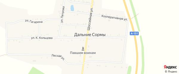 Шоссейная улица на карте деревни Дальние Сормы с номерами домов