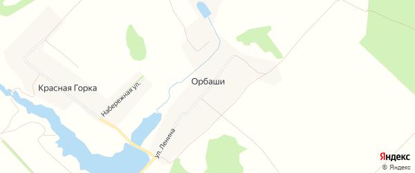 Карта деревни Орбаши в Чувашии с улицами и номерами домов