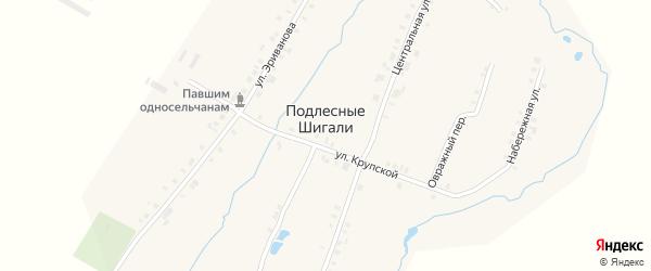 Овражный переулок на карте деревни Подлесные Шигали с номерами домов