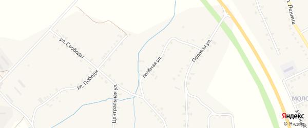 Зеленая улица на карте деревни Асхвы с номерами домов