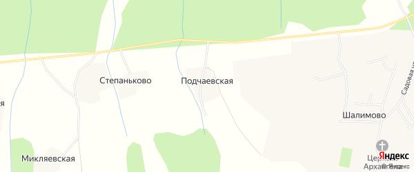 Карта Подчаевской деревни в Архангельской области с улицами и номерами домов