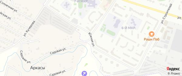 Южная улица на карте деревни Аркасы с номерами домов