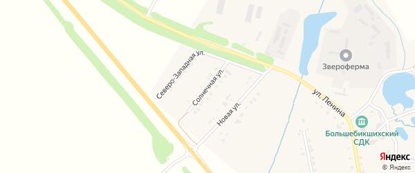 Солнечная улица на карте деревни Большие Бикшихи с номерами домов
