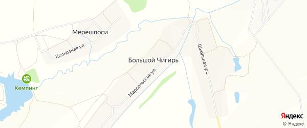 Карта деревни Большого Чигиря в Чувашии с улицами и номерами домов