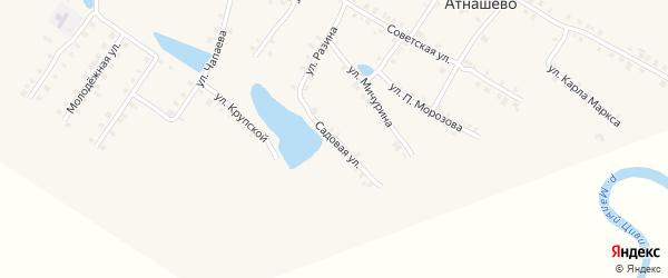 Садовая улица на карте деревни Атнашево с номерами домов
