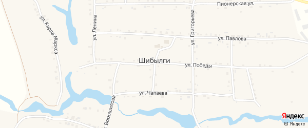 Шоссейная улица на карте села Шибылги с номерами домов