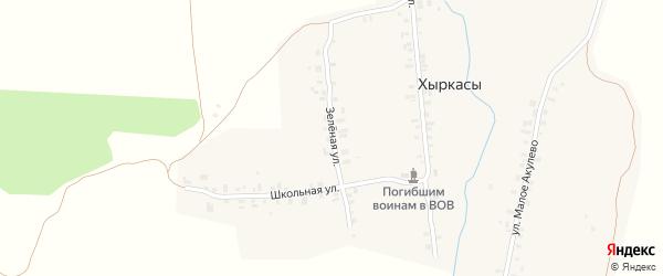 Зеленая улица на карте деревни Хыркас с номерами домов
