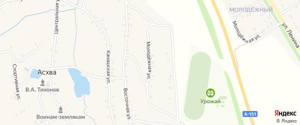 Молодежная улица на карте деревни Асхвы с номерами домов