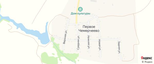 Средняя улица на карте деревни Первое Чемерчеево с номерами домов