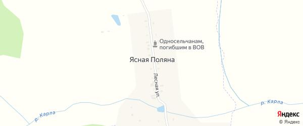 Лесная улица на карте поселка Ясной Поляны с номерами домов