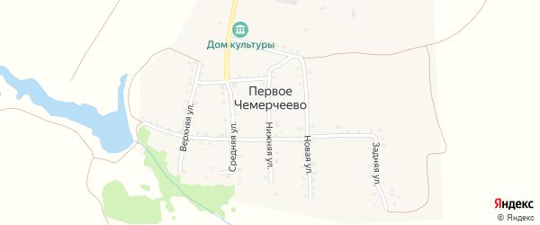 Переулочная улица на карте деревни Первое Чемерчеево с номерами домов