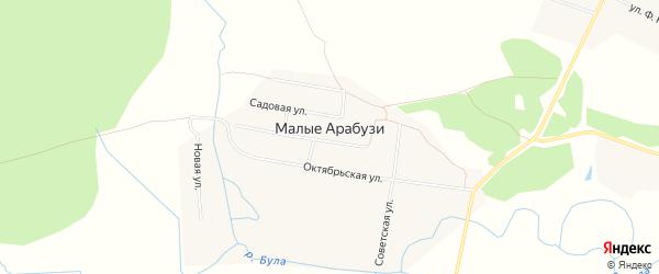 Карта деревни Малые Арабузи в Чувашии с улицами и номерами домов