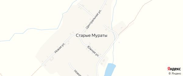Озерная улица на карте деревни Старые Мураты с номерами домов