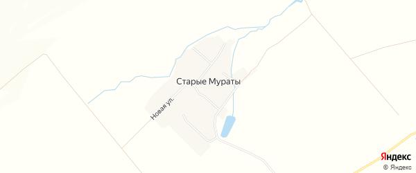 Карта деревни Старые Мураты в Чувашии с улицами и номерами домов