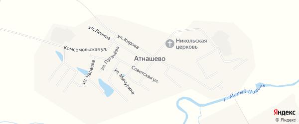 Карта деревни Атнашево в Чувашии с улицами и номерами домов