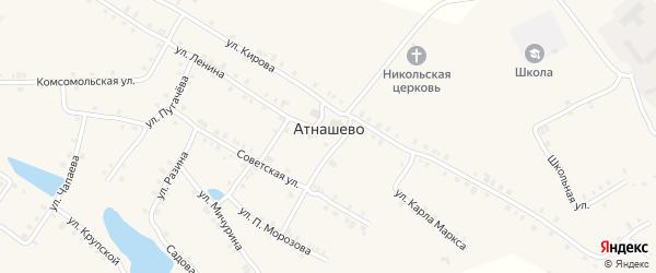 Улица Матросова на карте деревни Атнашево с номерами домов