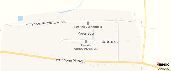 Зеленая улица на карте деревни Именево с номерами домов