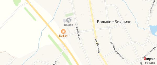 Советская улица на карте деревни Большие Бикшихи с номерами домов