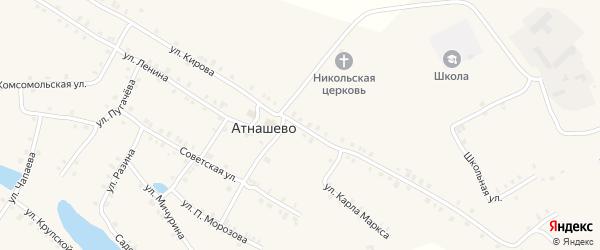 Улица Кирова на карте деревни Атнашево с номерами домов