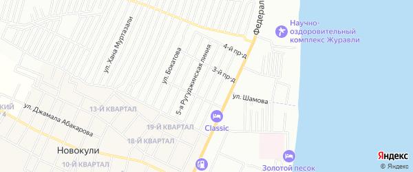 Карта микрорайона М-4 приморского жилого района города Махачкалы в Дагестане с улицами и номерами домов