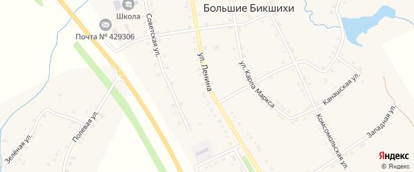 Улица Ленина на карте деревни Большие Бикшихи с номерами домов