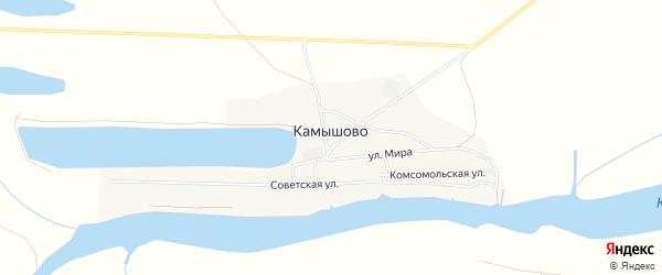 Карта села Камышово в Астраханской области с улицами и номерами домов