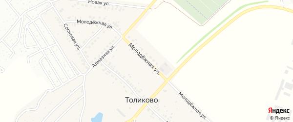 Молодежная улица на карте деревни Толиково с номерами домов