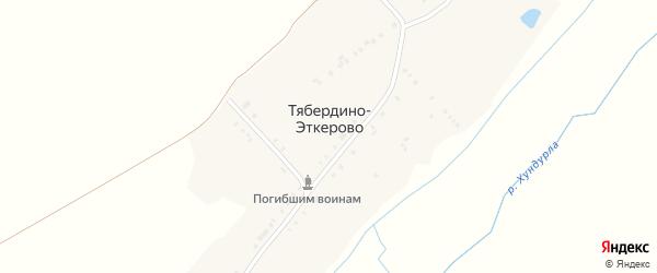 Школьная улица на карте деревни Тябердино-Эткерово с номерами домов